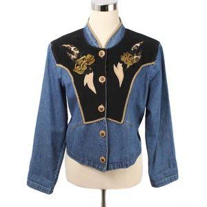 Vintage Nancy Bolen Denim Embellished Jacket